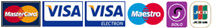 We accept Visa, Mastercard, Switch, Solo, JCB, Electron and Visa Delta